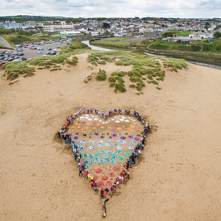 Beach heart by Budehaven School and Bude Cleaner Seas Project, by Clive Symm