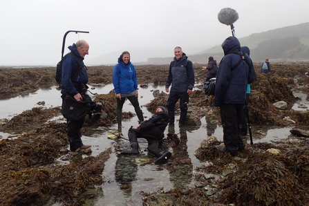 Marine Conservation Officer Abby Crosby filming with the BBC Autumnwatch team