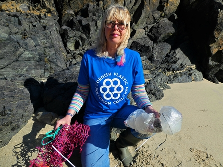 Delia Webb, Cornish Plastic Pollution Coalition co-founder and coordinator, on a beach clean